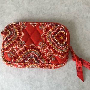 Vera Bradley Zip ID Case Wallet Clutch Red Orange